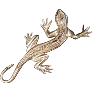 Large Sterling Silver Lizard Brooch Gecko Pin 11.8 Grams Slither
