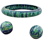 1960s Bangle Bracelet Clip on Earrings Psychedelic Drip Painted