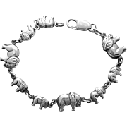 Sterling Silver Bracelet Elephants on Parade 10.8 Grams