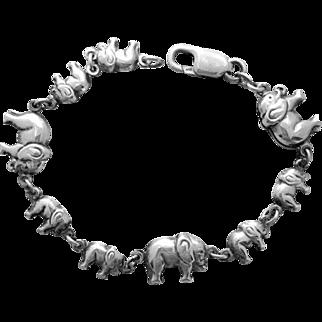 Sterling Silver Bracelet Elephants on Parade 10.8 Grams