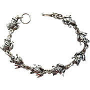 Sterling Silver Frog Bracelet Hefty 3-D Ribbit 13.6 Grams