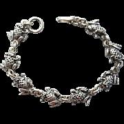 Sterling Silver Frog Bracelet Hefty 3-D Ribbit 13.6 Grams