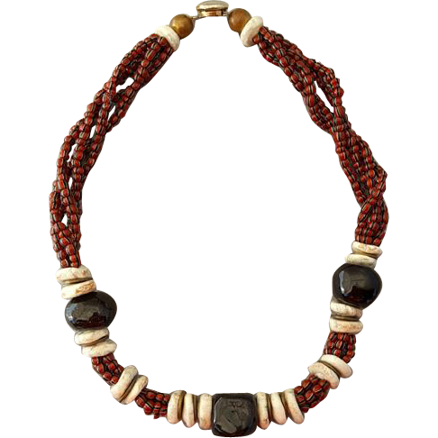 Vintage African Trade Bead Necklace Ethnic Shell
