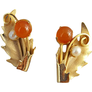 Vintage 1960s Clip Earrings Real Pearls and Carnelian by STAR