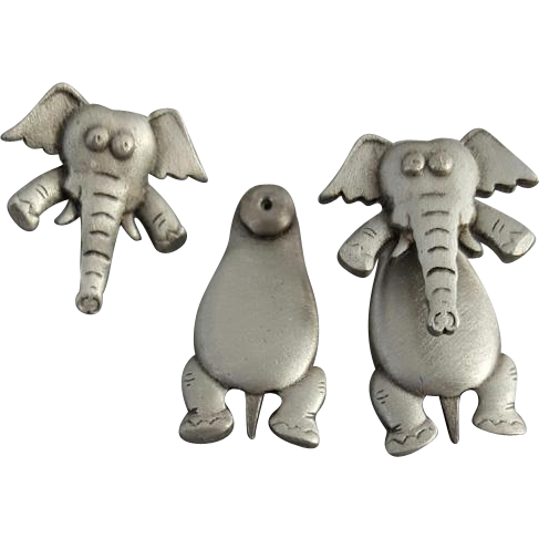 Vintage Pierced Earrings Elephants by J.J. Jonette 3-D