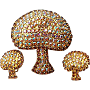 1960s Rhinestone Parure Mushrooms Brooch matching Earrings