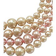1950s Vintage Faux Pearl Necklace Four Strands Sophisticated Timeless
