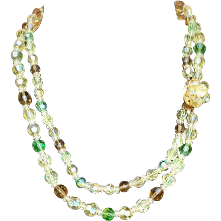 Double Strand Crystal Bead Necklace 1960s Jonquil Green Autumn Brown