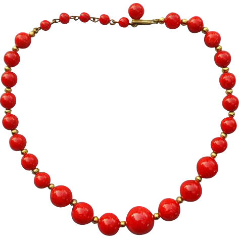 Red Bakelite Bead Necklace Early Plastic