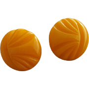 Bakelite Earrings Carved Butterscotch Adapted Pierced Findings Button Size