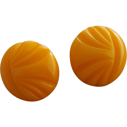 Carved Butterscotch Bakelite Earrings Pierced Findings Button Size