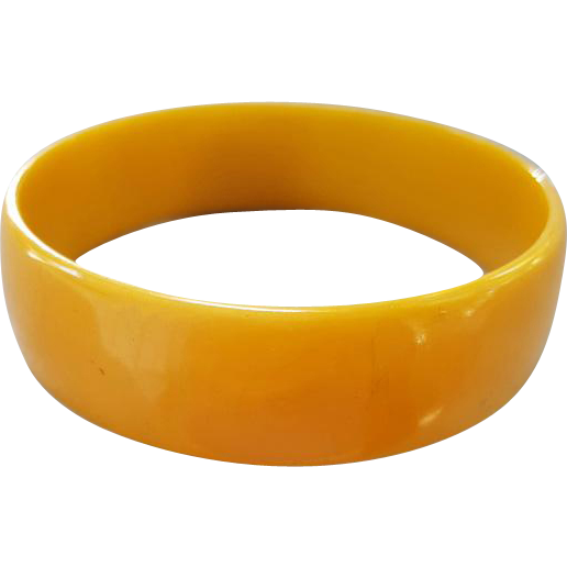 Wide Vintage Bakelite Bracelet Slice of Swirled Golden Yellow
