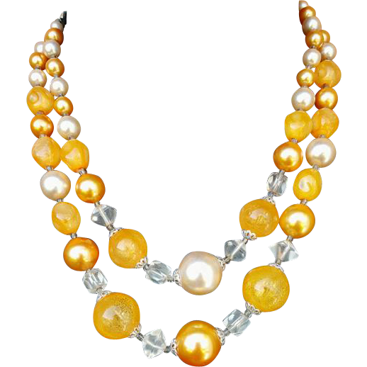 1960s Double Strand Necklace Cool Apricot and Cream Japan