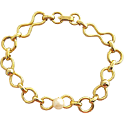 Unusual Vintage Gold Plated Link Bracelet with Real Pearl