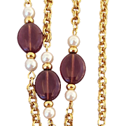 Vintage Station Necklace Amethyst and Faux Pearl Bead by Avon