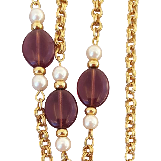 Elegant Station Necklace Amethyst and Faux Pearl Bead by Avon