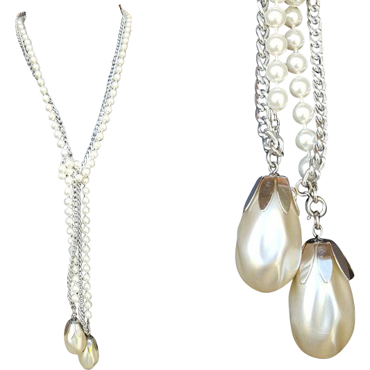 Lariat Necklace or Belt with Faux Pearl and Aluminum Chain Sarah Coventry