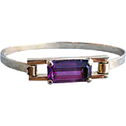 Purple Rhinestone Bangle Bracelet Skyline by Avon in Spring Steel