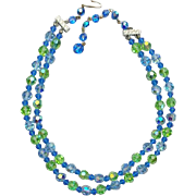 Fine Cut Crystal Necklace Baby Blue Celery Green 1960s Swarovski Beads