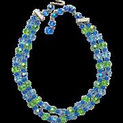 Fine Cut Crystal Necklace Baby Blue Celery Green 1960s Swarovski Beads