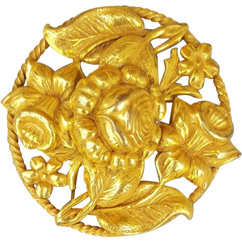 Early 1940s Brooch Bright Gold Tone Open Work Repousse Flowers