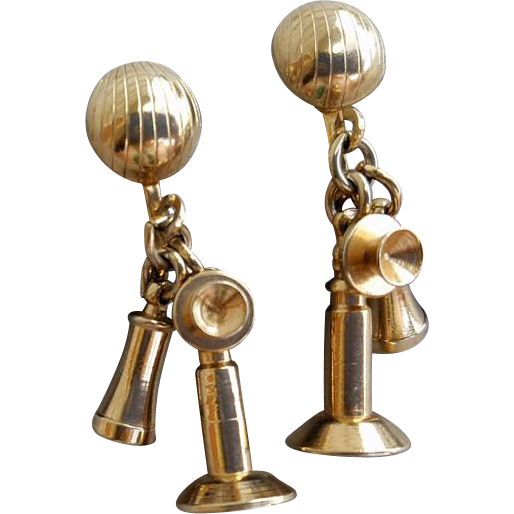 1950s Earrings Miniature Candlestick Telephones Tiny Size