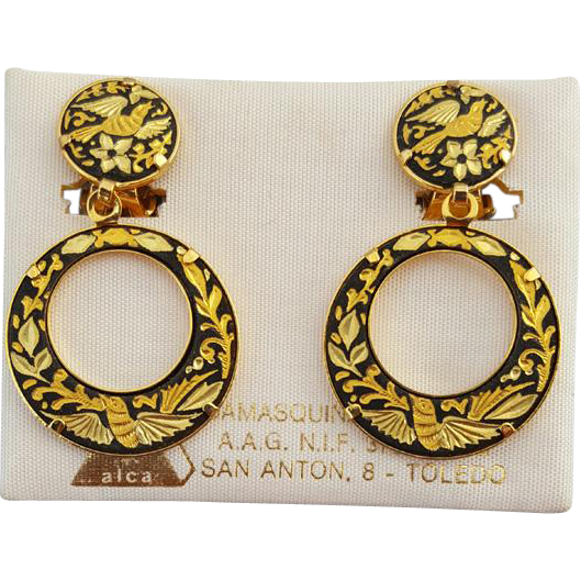 Damascene Earrings 24 KT Gold Plated Vintage Mint on Toledo Card