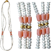 Triple Strand Carved Angel Skin Coral and Genuine Pearl Necklace