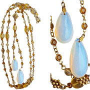 Vintage Lavalier Necklace Faux Moonstone Topaz Crystals