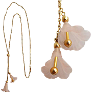 Sweet Lavalier Necklace with Pink Trumpet Blossom Drops Avon