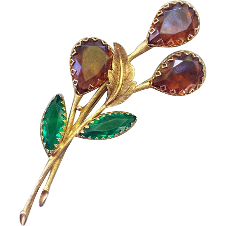 Vintage Rhinestone Brooch Autumn Colors Huge Stones Sweeping Design