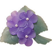 Vintage Brooch Frosted Lucite Violets with Faux Pearl Centers