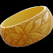 Vintage Bakelite Bangle Bracelet Wide Carved Creamed Corn
