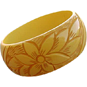 Vintage Bakelite Bangle Bracelet Wide Carved Creamed Corn