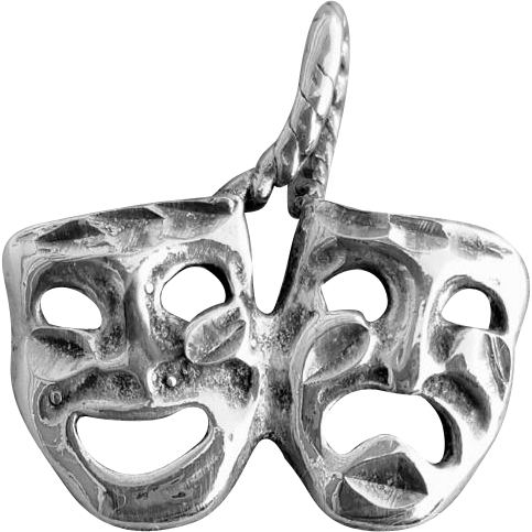 Sterling Silver Bracelet Charm Thespian Masks Theatre Comedy Tragedy