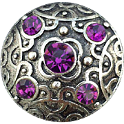 Classic Celtic Brooch Vivid Purple Rhinestones Silvertone Metal