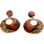 Gorgeous Vintage Earrings by Edgar Berebi Pierced Amber Browns Gold Tone