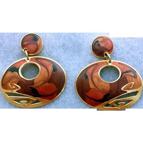 Gorgeous Vintage Earrings by Edgar Berebi Pierced Amber Browns Gold Tone
