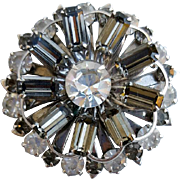 Elaborate 1960s Rhinestone Brooch Fancy Smoky 3-D
