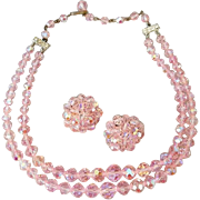 Vintage Bead Necklace and Earrings Pink Cut Crystals Germany
