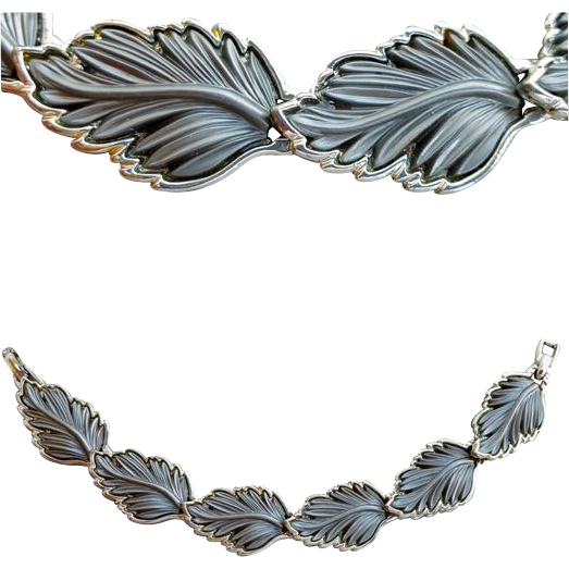 1960s Bracelet Mid Century Gray Leaf Design