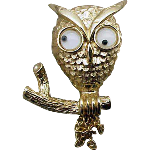 Googly Eye Halloween Owl Brooch Moving Chain Tail Feathers