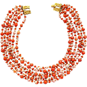 Vintage 6 Strand Necklace Bodice Filling Fall Color