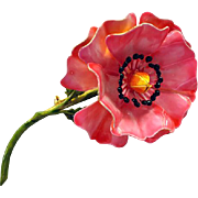 Vintage Enameled Flower Brooch Pink Poppy Original by Robert