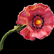 Vintage Enameled Flower Brooch Pink Poppy Original by Robert