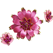Superb Vintage Brooch and Earrings Hot Pink Fuchsia Rhinestones 1960s