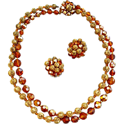 Vintage Marvella Necklace and Earrings Amber Crystals