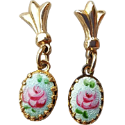 Doll or Baby Size Guilloche Rose Earrings Pierced