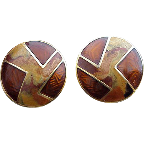 Vintage Edgar Berebi Earrings Amber Golden Brown Beautiful