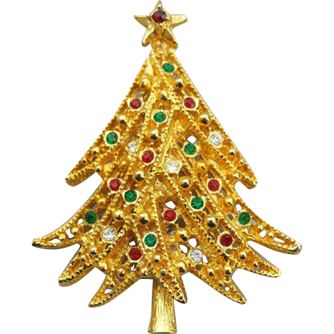 Vintage Rhinestone Christmas Tree Brooch Swooping Branches